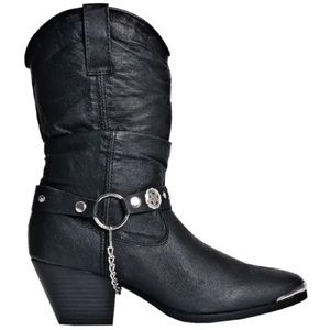 DINGO 522 Black Leather Slouchy Western Boots 6